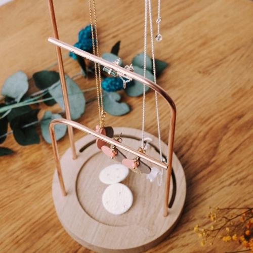 Orea 3 | Porte boucles d'oreilles | Cuivre et chêne