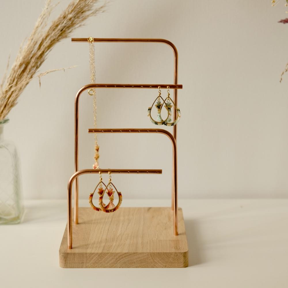 Holm 4 cuivre en chêne | Présentoir à bijoux |